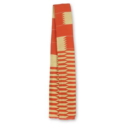 Cotton blend kente cloth scarf, 'Asomdwe Hene' (5 inch width) - Orange and Ivory African Kente Cloth Scarf (5 Inch Width)