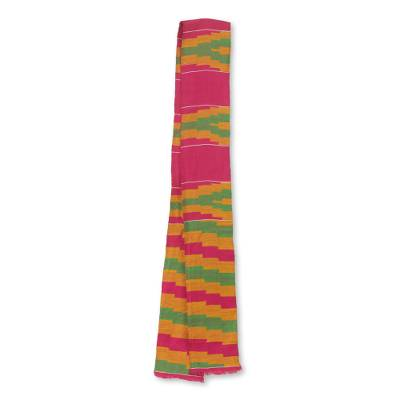 Cotton blend kente cloth scarf, 'Ahoufe' (4 inch width) - Colorful Handwoven African Kente Cloth Scarf (4 Inch Width)
