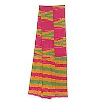 Cotton blend kente cloth scarf, 'Ahoufe' (8 inch width) - Colorful Ghanaian Cotton Blend Kente Scarf (8 Inch Width)
