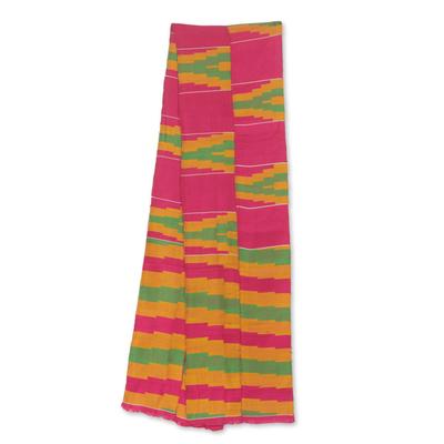 Cotton blend kente cloth scarf, 'Ahoufe' (8 inch width) - Colorful Ghanaian Cotton Blend Kente Scarf (8 Inch Width)