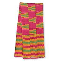 Cotton blend kente cloth scarf, 'Ahoufe' (12 inch width) - Multicolored Kente Cloth Scarf from Africa (12 Inch Width)