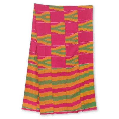 Cotton blend kente cloth scarf, 'Ahoufe' (16 inch width) - Fair Trade Pink Green and Orange Kente Scarf (16 Inch Width)