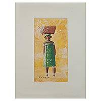 'Basket Lady II' - African Woman in Green Painting with Mat Board