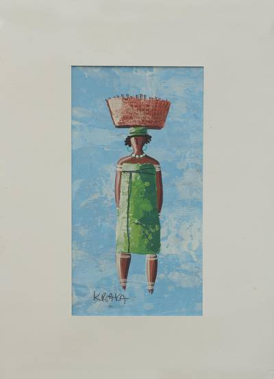 'Basket Lady I' - African Woman with Basket Painting with Mat Board Signed