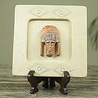 African wood mask box, 'Serene Pharaoh' - Pharaoh African Wood Mask Box on Stand Crafted by Hand