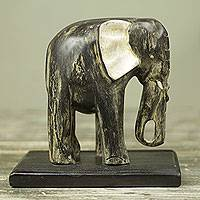 Wood sculpture, 'Akan Elephant' - Weathered Black Elephant Wood Sculpture from Ghana