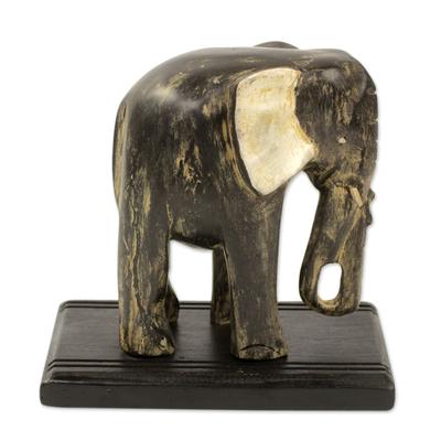 Wood sculpture, 'Akan Elephant' - Weathered Black Elephant Wood Sculpture from Ghana
