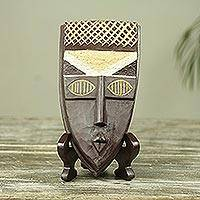 African wood mask and stand, 'A Ghanaian Blessing' - Ghana Handcrafted Genuine African Mask and Display Stand