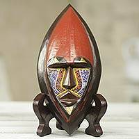 African beaded wood mask, 'Ntoboase I' - African Wood Mask Carved by Hand with Colorful Beads