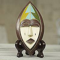 African beaded wood mask, 'Ntoboase II' - Hand Crafted African Wood Mask of Patience with Stand