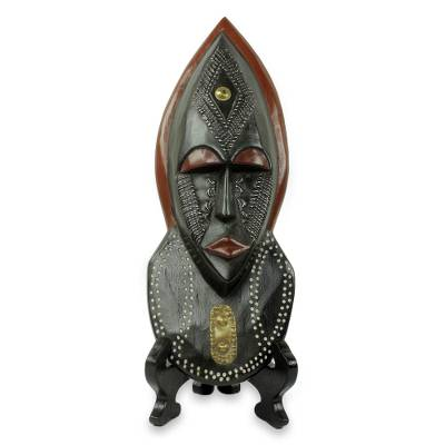African beaded wood mask, 'Ntoboase III' - African Patience Wood Mask with Stand Crafted by Hand