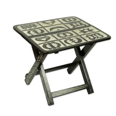 Brown and Cream Wood Folding Table with Adinkra Symbols
