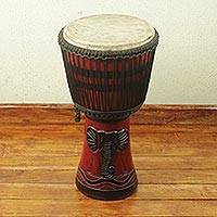 Wood djembe drum, 'Elephant Mask' - Authentic African Handcrafted Djembe Drum