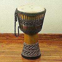 Wood djembe drum, 'Wisdom Knot' - Adinkra Theme Authentic African Djembe Handcrafted Drum