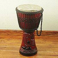 Wood djembe drum, 'Sankofa Symbol' - Sankofa Symbol Authentic African Djembe Handcrafted Drum