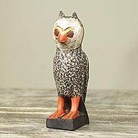 Wood sculpture, 'Owl Messenger' - Handcrafted Rustic African Bird Theme Wood Sculpture