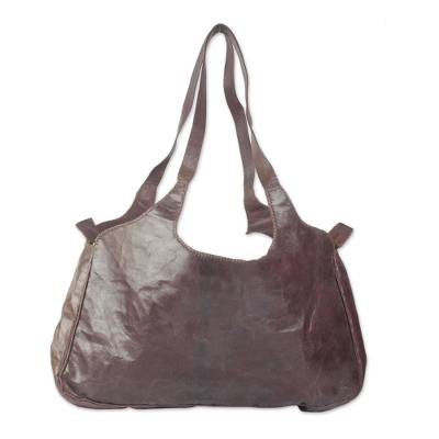 Novica Cotton and leather accent shoulder bag, Bawku Splendor