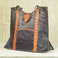 Leather shoulder bag, 'Ginger Arrow' - Leather Shoulder Bag in Black and Ginger from Ghana