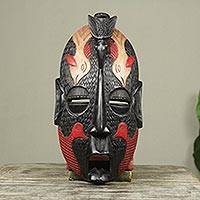 African wood mask, 'Flying' - Hand Carved African Wood Mask with Five Birds Design