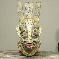 African mask, 'Ever Forward' - Original Artisan Crafted Golden African Wood Mask