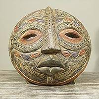 African wood mask, 'Overcomer' - Textured Handcrafted Round African Sese Wood Mask
