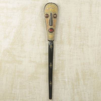Beaded African wood mask, 'Cornmeal Stew Cook' - Authentic African Wall Mask with Beadwork and Metal Inlay