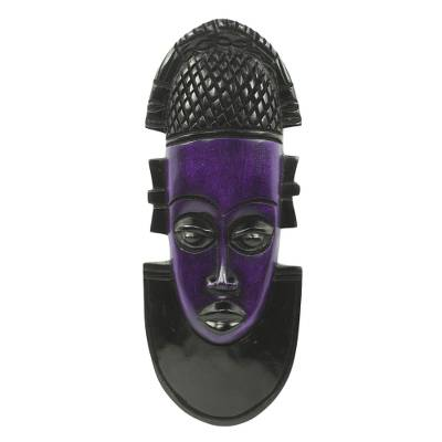 African wood mask, 'Queen Idia' - Hand Carved and Painted African Wood Mask