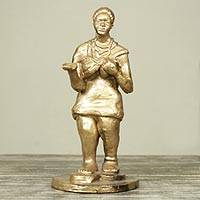Ceramic sculpture, 'My Special Person' - Golden Ceramic Sculpture of African Woman