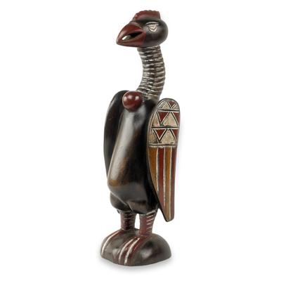 Wood sculpture, 'Senufo Kalaho Bird' - Artisan Hand Carved African Bird Sculpture