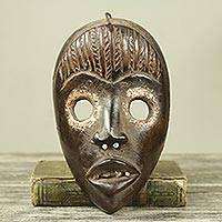 African wood mask, 'Dan Protection I' - Antiqued African Wall Mask Crafted by Hand