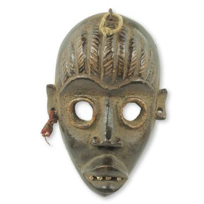 African Wood Mask for Wall Decor Hand Crafted in Ghana