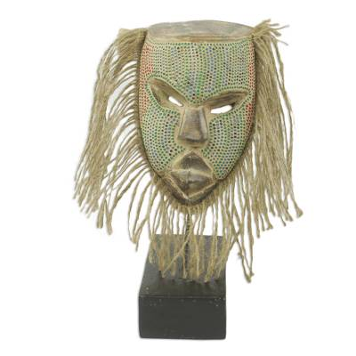 African wood beaded mask and stand, 'Frafra Ancestor' - Hand Carved African Wood Mask with Beard on Stand