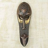 African wood mask, 'Love Star' - African Male Wall Mask with Heart Shape Made by Hand