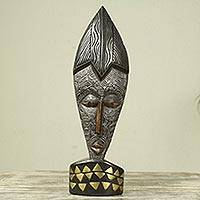 African wood mask, 'Servitude' - Decorative African Wood Mask with Stand Crafted by Hand