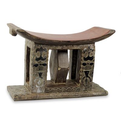 Wood Ashanti ottoman stool, 'Queen's Authority' - Handcrafted Authentic Ashanti Ottoman Stool from Ghana