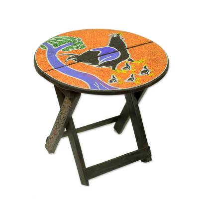 Artisan Crafted Wood Folding Table with Beaded Top
