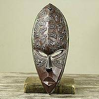 African wood mask, 'Ghost' - Artisan Crafted Wall Mask with Embossed Aluminum on Wood