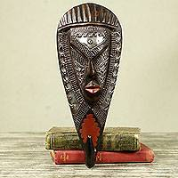African wood mask and coat hook, 'Face of Strength' - Handmade 2-in-1 African Wood Wall Mask and Coat Hook