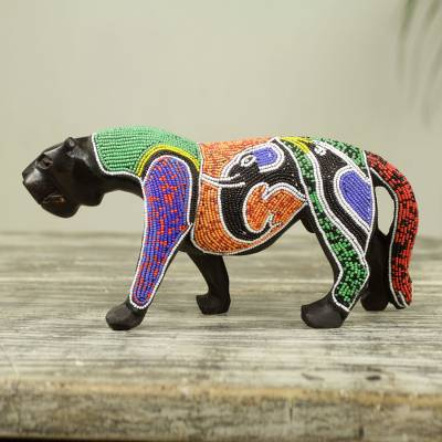 Mahogany wood sculpture, 'Panther Realm' - Wood Panther Sculpture with Elephant and Bird Beadwork