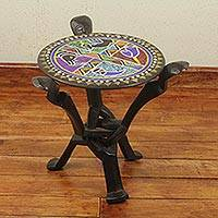 Beaded wood folding table, ' 'African Unity'