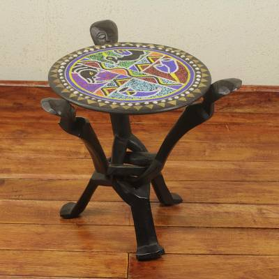 Beaded wood folding table, ' 'African Unity' - Multicolor Beaded African Folding Accent Table from Ghana