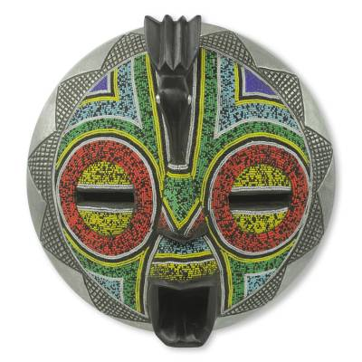 African wood mask, 'Anoma Guardian' - Beaded Bird Theme African Mask with Aluminum