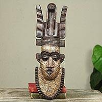 African wood mask, 'Thinking Man' - African Wood Mask with Embossed Aluminum Detailing