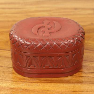 Wood jewelry box, 'Fear Only God' - Hand Carved African Adinkra Symbol Wood Jewelry Box