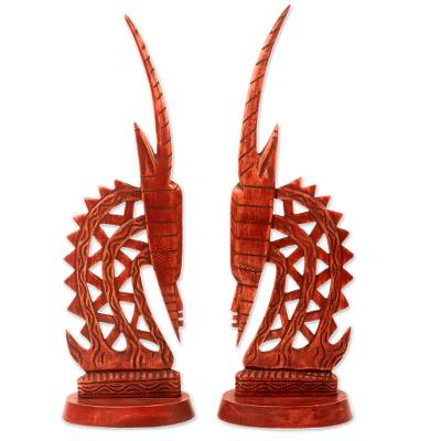 Mahogany sculptures, 'Bambara Antelopes' (pair) - Hand Crafted Wood Sculpture of African Antelopes (Pair)