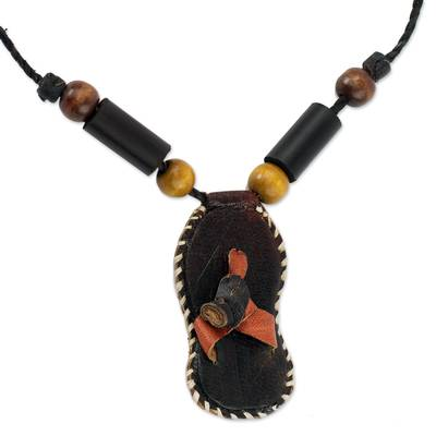 Leather, bamboo and sese wood necklace,