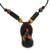 Leather, bamboo and sese wood necklace, 'Ahenema' - African Leather and Bamboo Necklace with Footwear Pendant (image 2a) thumbail
