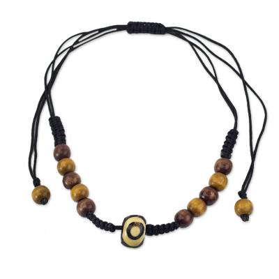Wood beaded necklace, 'Hope of Ghana' - Handcrafted Wood Beaded Necklace with Batik on Bone Accent
