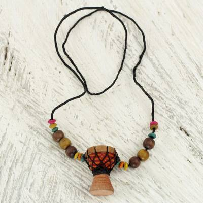 Beaded wood pendant necklace, 'Kpanlogo' - Unique African Kpanlogo Drum Pendant Necklace