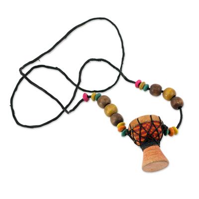 Beaded wood pendant necklace, 'Kpanlogo' - Unique African Kpanlogo Drum Pendant Necklace